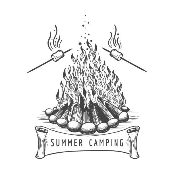 illustrazioni stock, clip art, cartoni animati e icone di tendenza di marshmallow roasting on campfire - falò