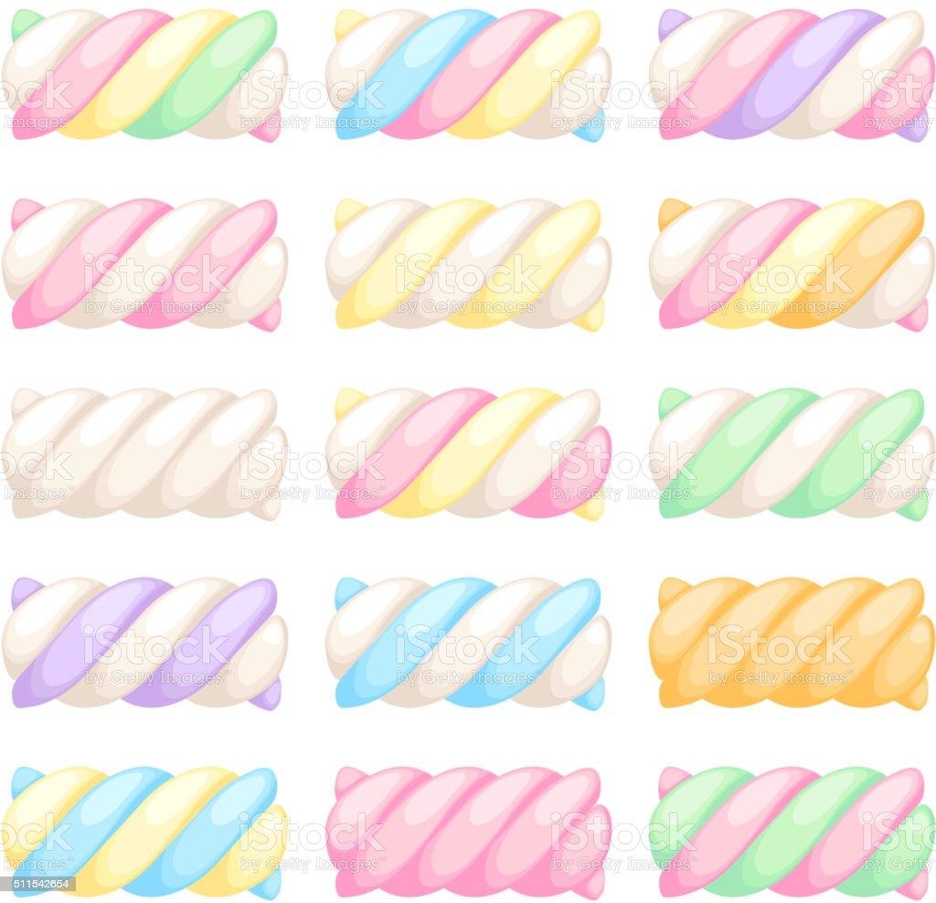 Marshmallow twists set vector illustration vector art illustration