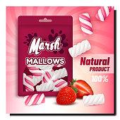 istock Marshmallows Creative Promotional Poster Vector 1289900130