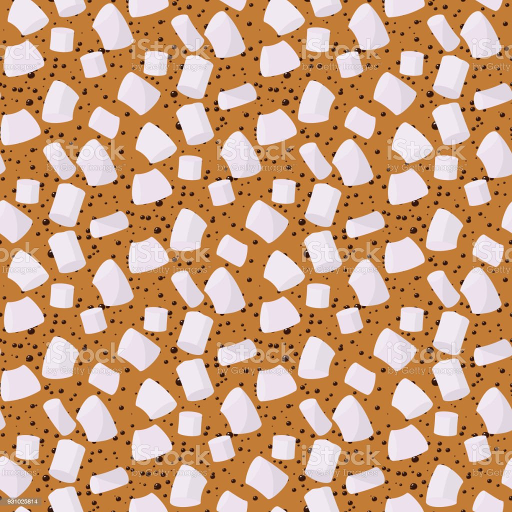 Marshmallows seamless pattern vector sweet candy for coffee backdrop and marshmallow sticks dessert background of sugary confectionery in coffeecup illustration wallpaper vector art illustration