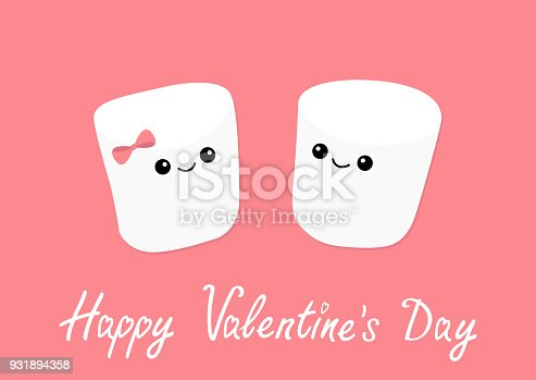 Marshmallows with eyes and smiles. Funny face. Happy Valentines Day. Cute cartoon character. Love sign symbol. Minimal flat lay design. Marshmallow couple set. Sweet food. Pink background. Vector