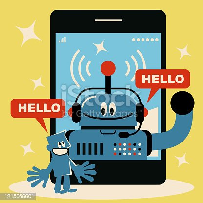 Blue Little Guy Characters Vector art illustration. Martech and chatbot concept, blue man talks with a robot that wears headphones on smart phone.