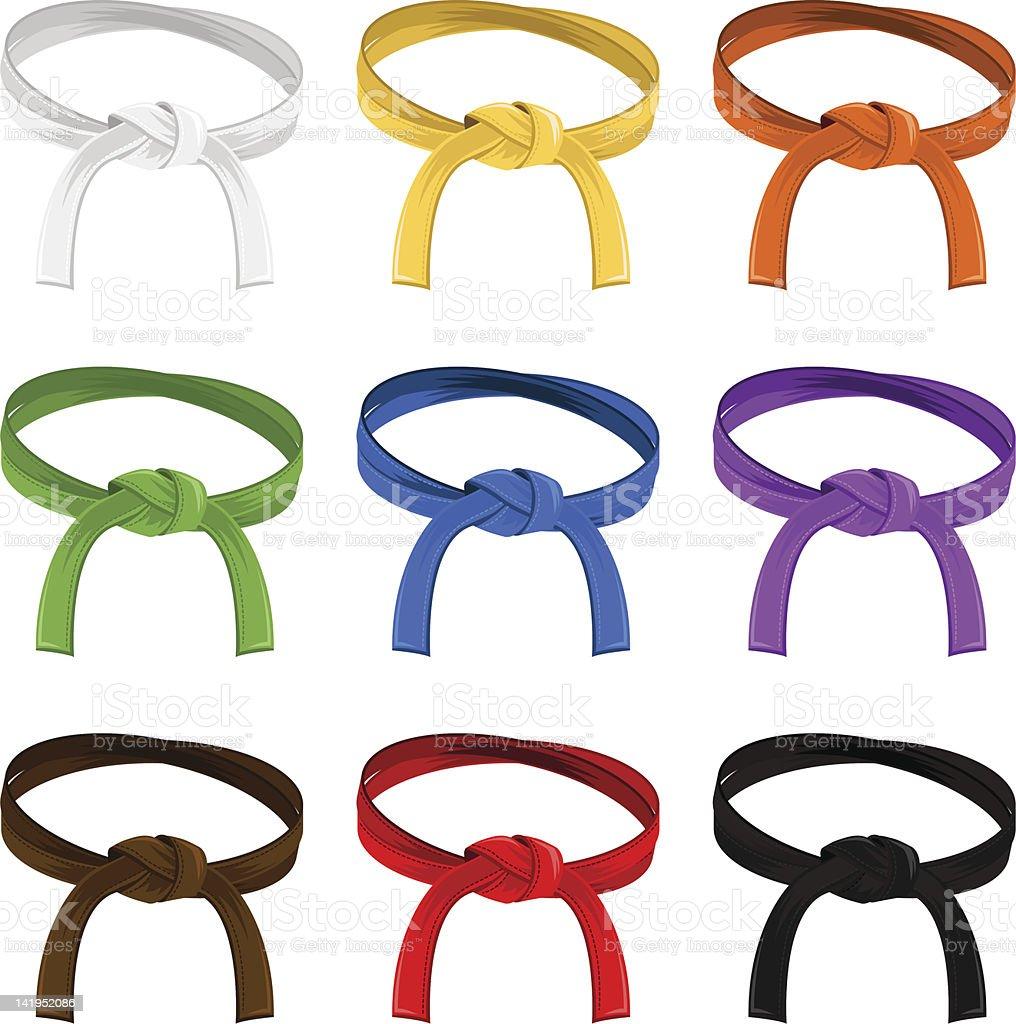 Martial Art Belt Rank System royalty-free stock vector art