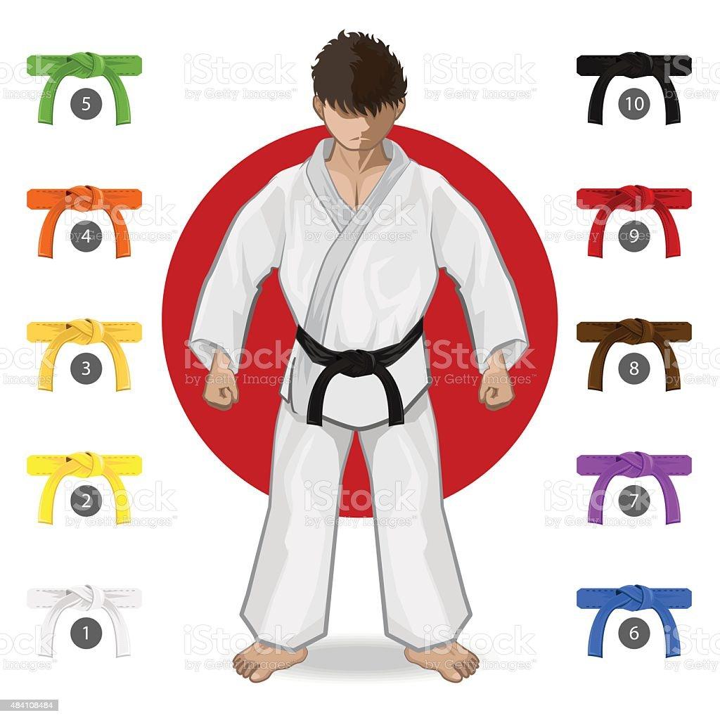 KARATE Kampfkunst Gürtel Rang System – Vektorgrafik