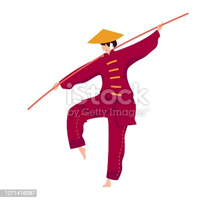 Martial art, japanese stick fighter, strong fighter, kung fu sport training exercise, flat vector illustration, isolated on white. Shock protection training, professional woman in traditional dress.