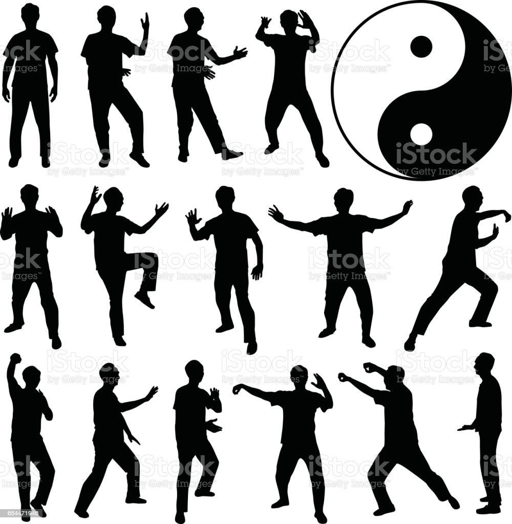 Martial Art Kung Fu Self Defense in Silhouette Vector vector art illustration