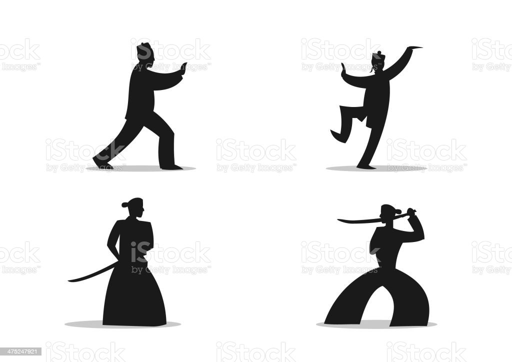 Silhouette di arte marziale-Fumetto - illustrazione arte vettoriale