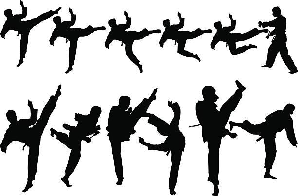 stockillustraties, clipart, cartoons en iconen met martial art - kickboksen