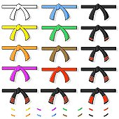 Vector Illustration of various Martial Art belts - suitable for virtually any style. The tips can be added to each belt if needed. All grouped for easy isolation or editing.
