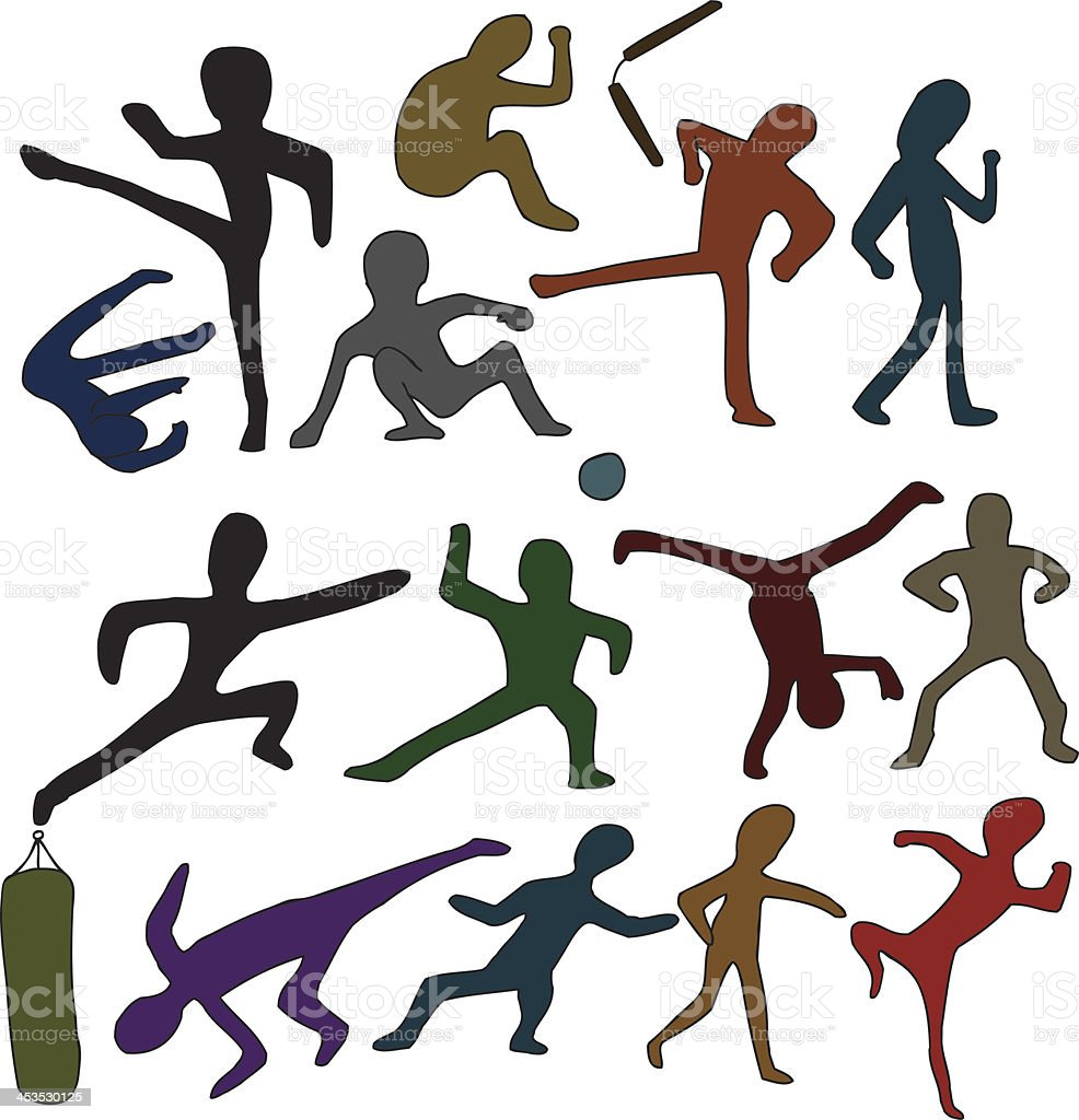 Martial Arts Doodles royalty-free martial arts doodles stock vector art & more images of activity