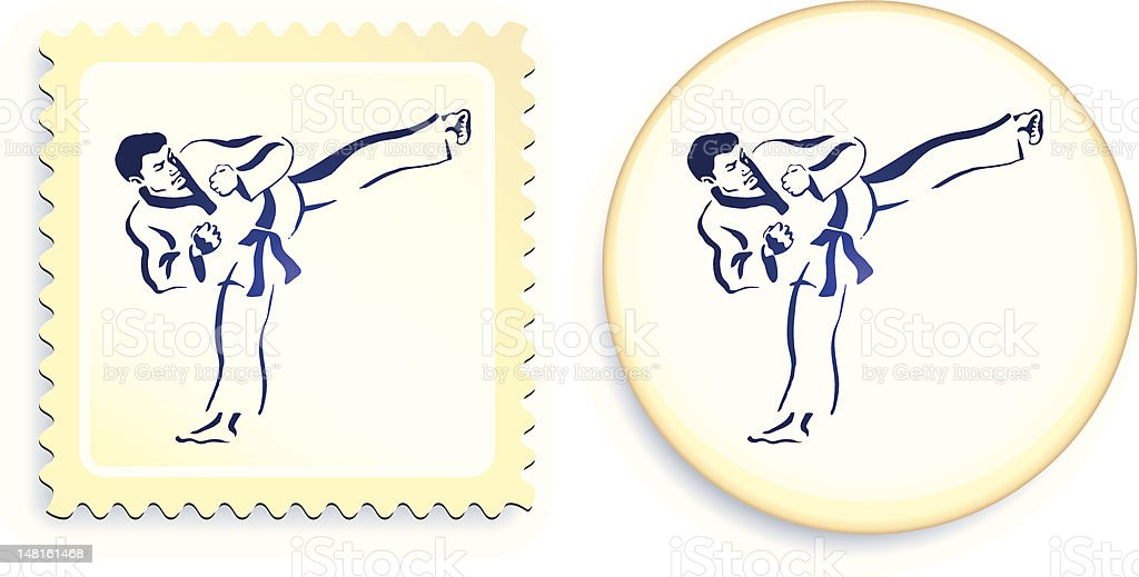 Martial Arts fighter on button and stamp royalty-free stock vector art