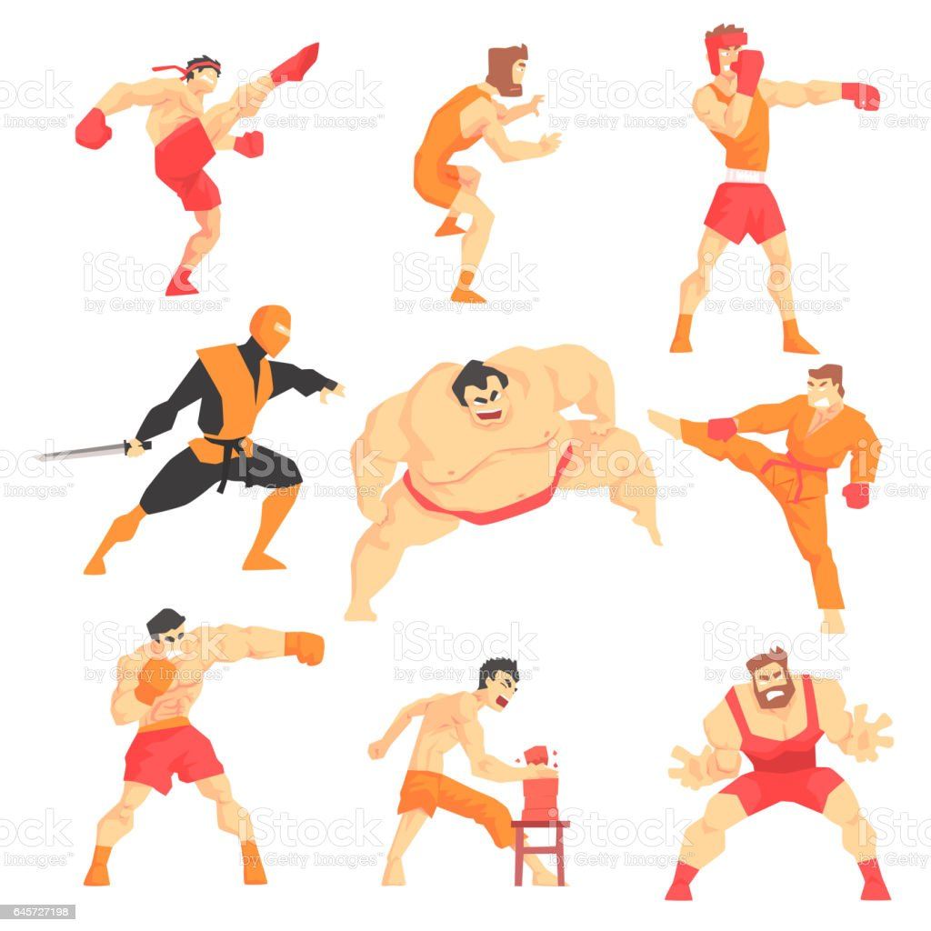 Martial Arts Fighters Demonstrating Different Technique Kicks Set Of...