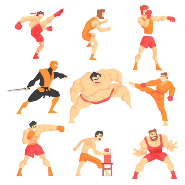 martial arts fighters demonstrating different technique kicks set of asian fighting sports professional in traditional  outfits sportive clothin - sumo stock-grafiken, -clipart, -cartoons und -symbole