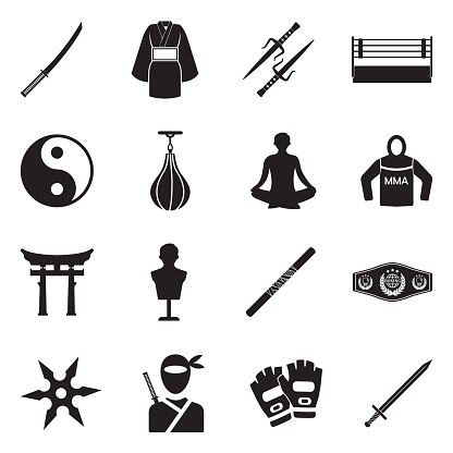 Martial Arts Icons. Black Flat Design. Vector Illustration.