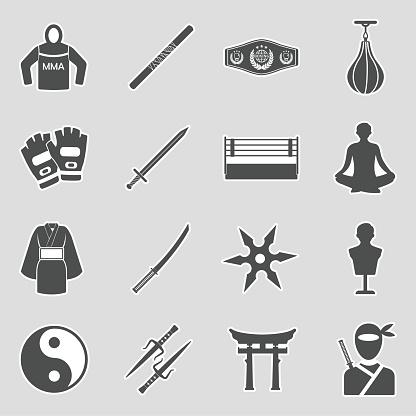 Martial Arts Icons. Sticker Design. Vector Illustration.