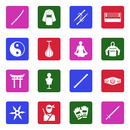 Martial Arts Icons. White Flat Design In Square. Vector Illustration.