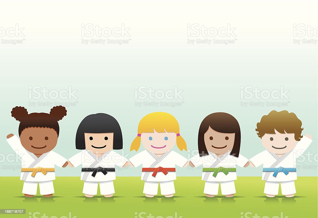 Artes marciais: Judô Karate meninas - ilustração de arte em vetor
