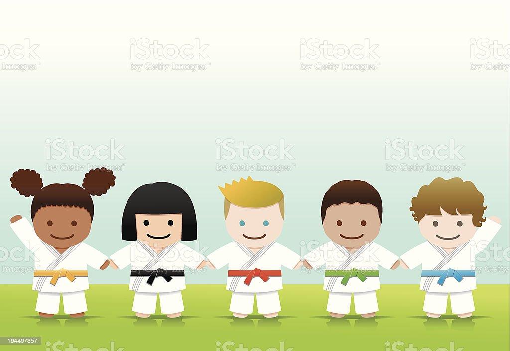 Artes marciais: Judo Karate sorriso World para as crianças - ilustração de arte em vetor