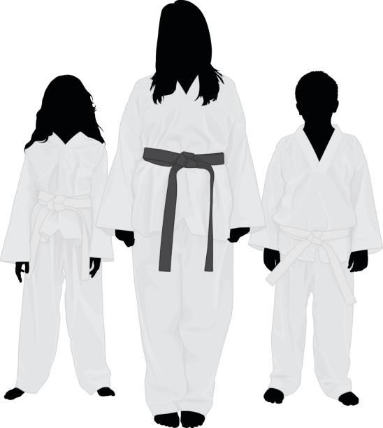 Martial Arts Kids vector art illustration