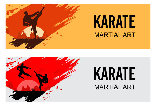 martial arts, silhouette of two male karate fighting, vector - martial arts stock illustrations