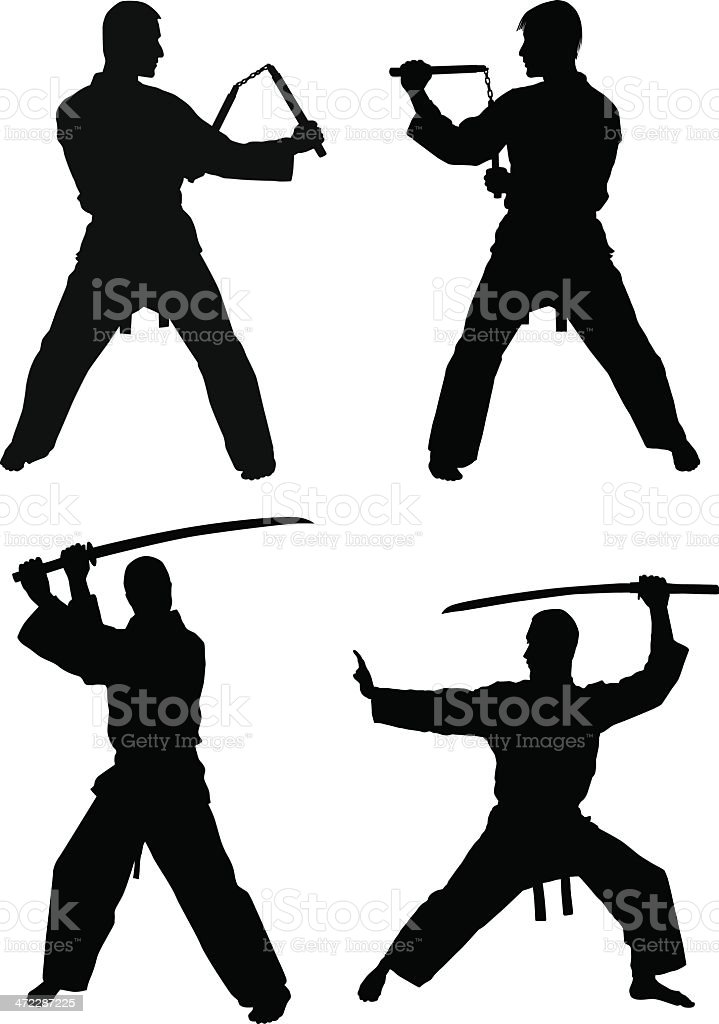 Martial Arts Silhouettes vector art illustration