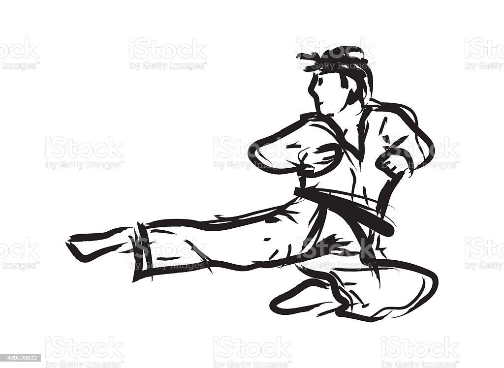 Artes marciais simples desenho à mão - ilustração de arte em vetor