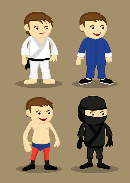 martial-arts-trikot und outfits vektor-illustration - hapkido stock-grafiken, -clipart, -cartoons und -symbole