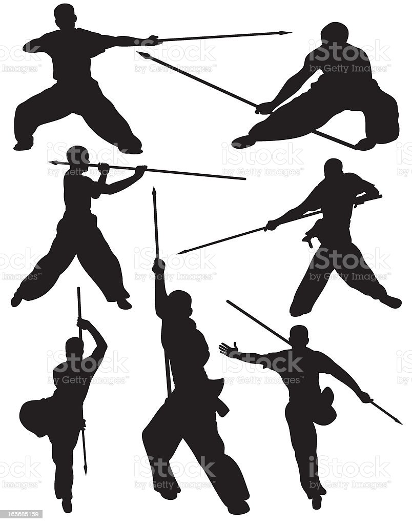 Martial Arts Weapon Fighting Silhouette royalty-free martial arts weapon fighting silhouette stock vector art & more images of exercising