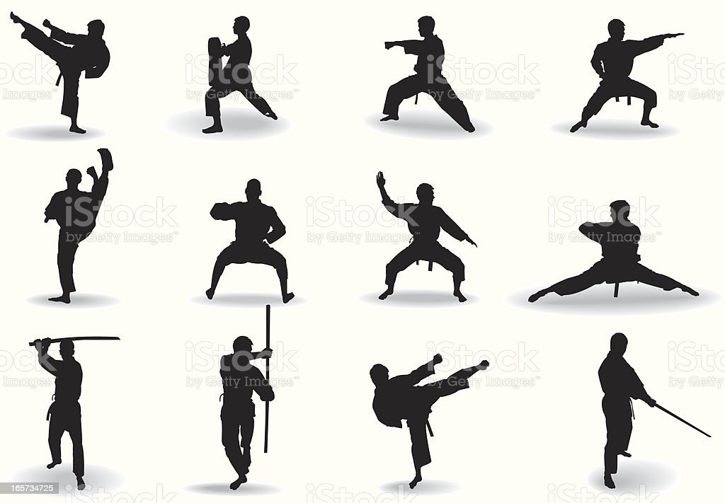 Martial exercise vector art illustration