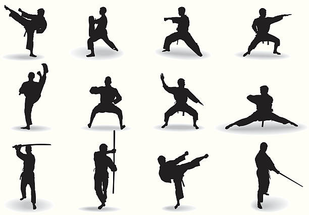 martial exercise - martial arts stock illustrations