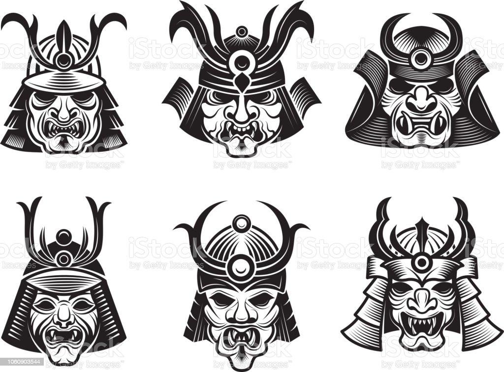 Vetores De Mascaras De Artes Marciais Guerreiro Samurai Japones