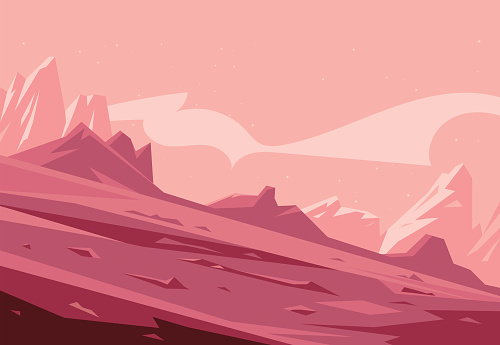 Martian landscape background tileable horizontally, sand hills with stones on a deserted planet