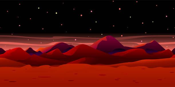 ilustrações de stock, clip art, desenhos animados e ícones de martian landscape background - na superfície