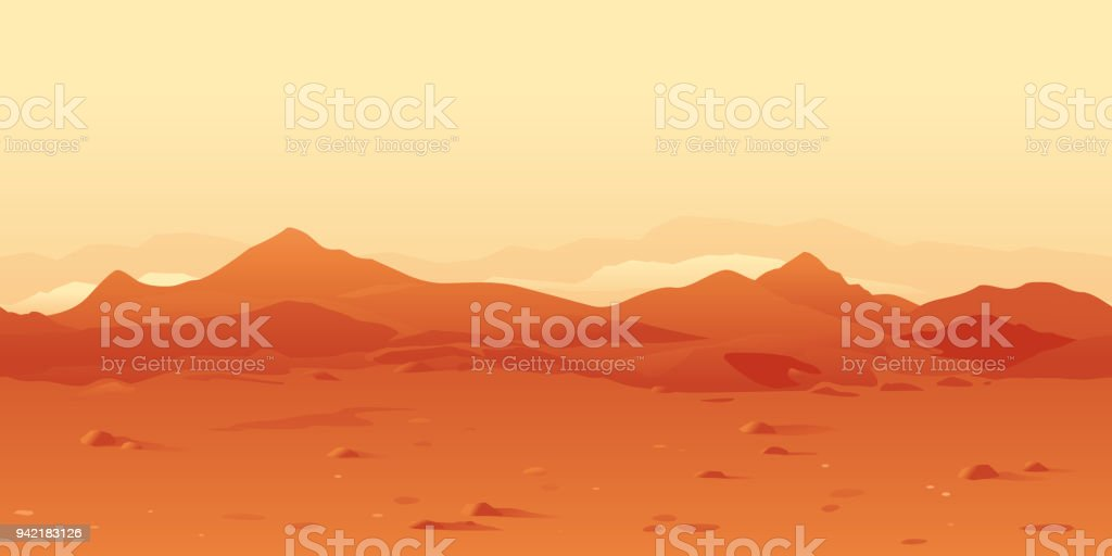 Martian Landscape Background vector art illustration
