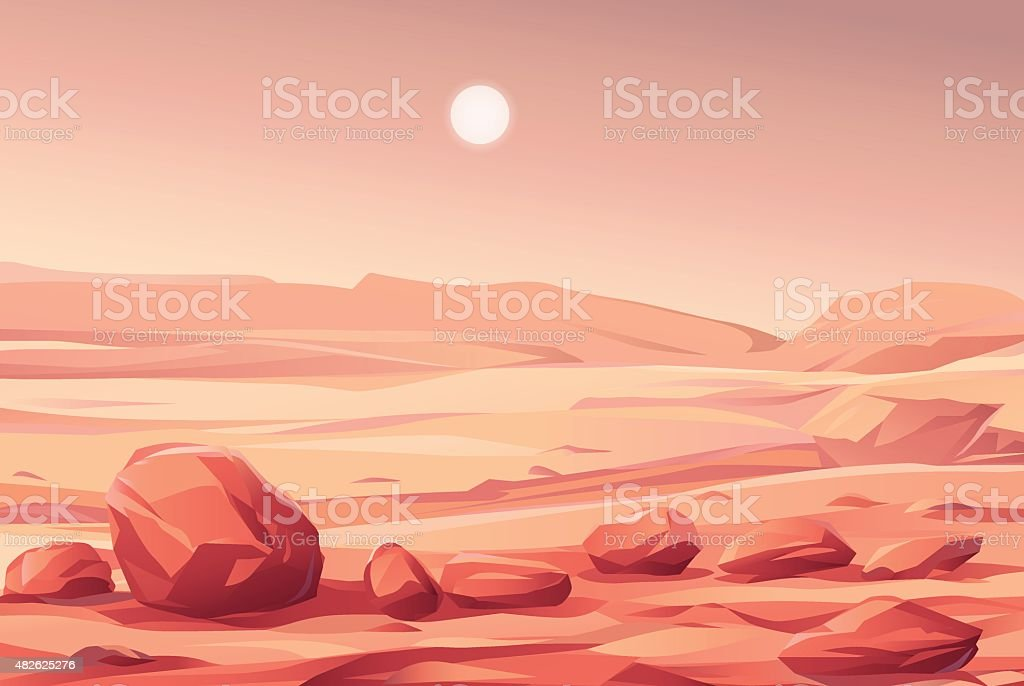 Martian Landscape vector art illustration