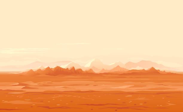 illustrations, cliparts, dessins animés et icônes de paysage panoramique surface martienne - mars