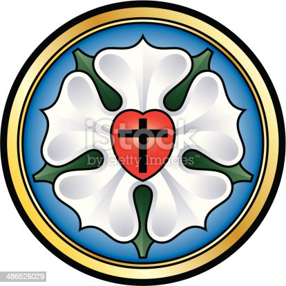 Colorized illustration of the Luther seal, also called Luther rose, a widely-recognized symbol for Lutheranism. The components of this seal are a black cross in a red heart as symbol of the Holy Trinity, a white single rose in a sky-blue field and around a golden ring.