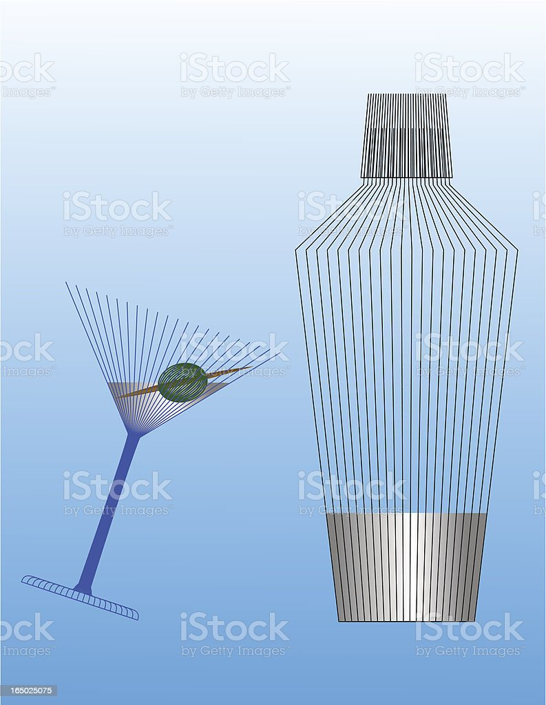 Martini and shaker (eps) royalty-free stock vector art
