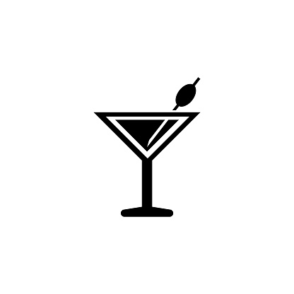 Martini Cocktail, Liquor Drink Flat Vector Icon