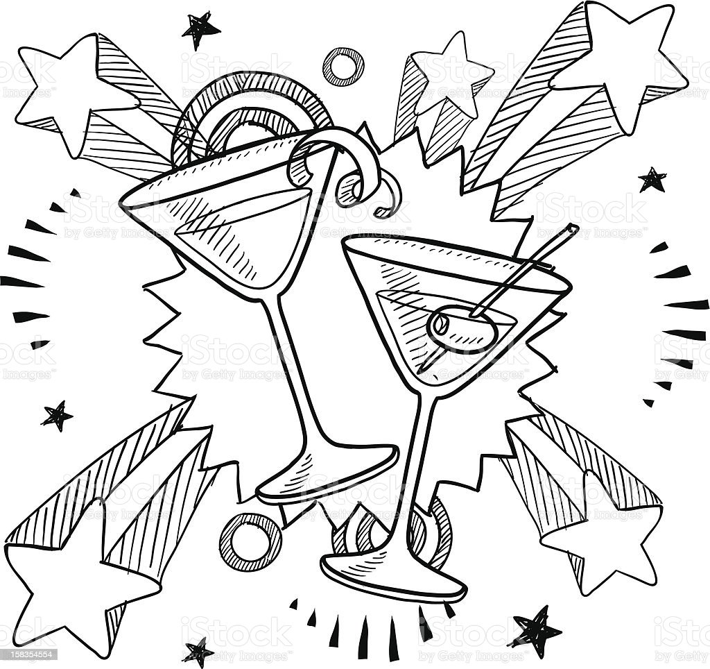 Martini excitement sketch royalty-free stock vector art