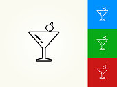 Martini Glass Black Stroke Linear Icon. This royalty free vector illustration is featuring a black outline linear icon on a light background. The stroke is editable and the width of the line can be easily adjusted. The icon can also be converted to have a black fill color. The download includes 3 additional versions of this icon on blue, green and red background.