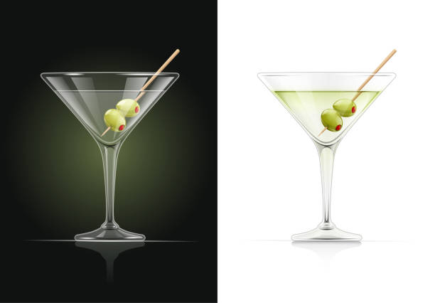 Martini glass. Cocktail with olive. Martini glass. Cocktail. Alcoholic classic drink. Dry vermouth with green olive. EPS10 vector illustration. martini stock illustrations