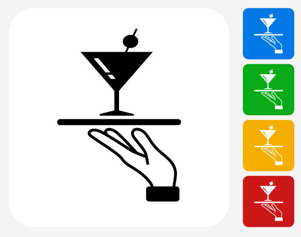 Martini Glass Icon Flat Graphic Design vector art illustration