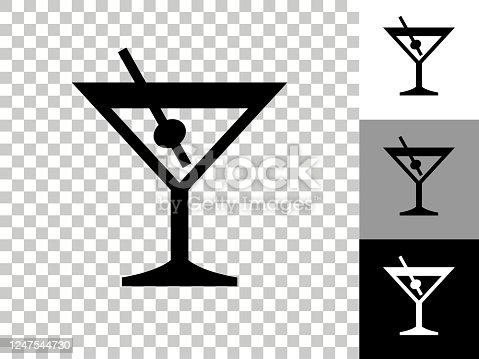 istock Martini Glass Icon on Checkerboard Transparent Background 1247544730