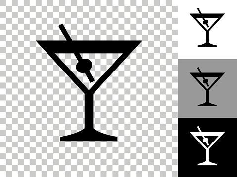 Martini Glass Icon on Checkerboard Transparent Background