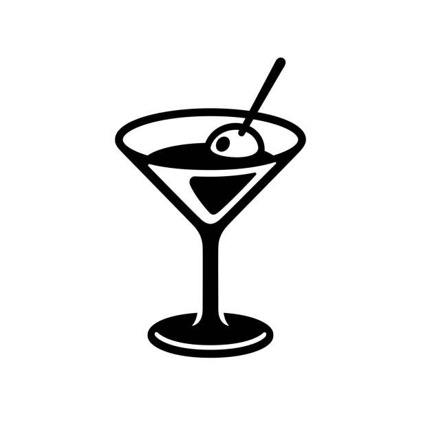 Martini glass icon Glass of martini cocktail with olive. Black and white drink icon, simple and stylish bar logo. Isolated vector clip art illustration. martini glass stock illustrations