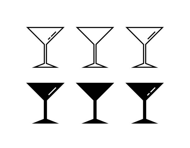 Martini glass icons in flat design style. Vector icon set. Martini glass icons in flat design style. Vector icon set. martini glass stock illustrations