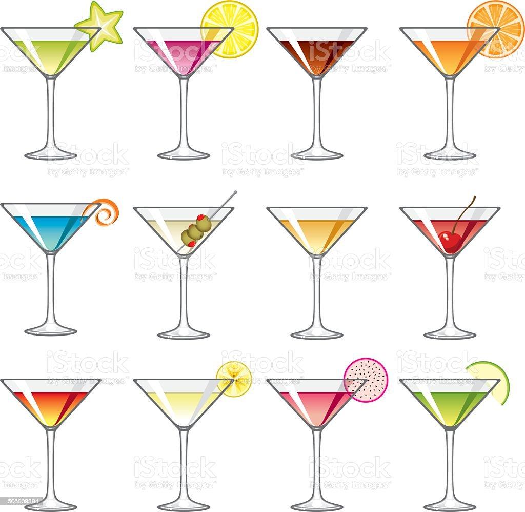 Martini Glass Icons Set vector art illustration