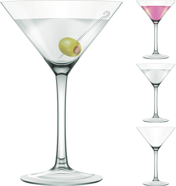Martini glass Photo-realistic vector illustration of a Martini cocktail glass in four variations - with an olive, without it, pink and empty. EPS 10 format, various transparency modes used. martini glass stock illustrations