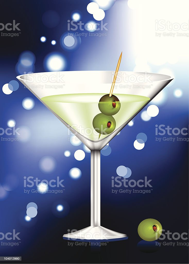 martini glass with olives abstract internet background vector art illustration